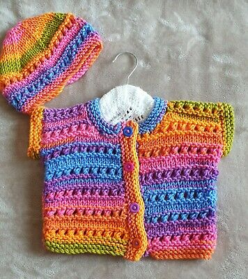 Hand Knitted Baby Cardigan & Hat in Chunky Wool Age 6-12 Months Approx BRAND NEW