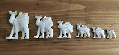 Vintage Carved Bone Bovine Camel Figures Set