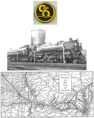 1926 Chesapeake & Ohio Railroad C&O Rr System Map Print Patch Shows All Station
