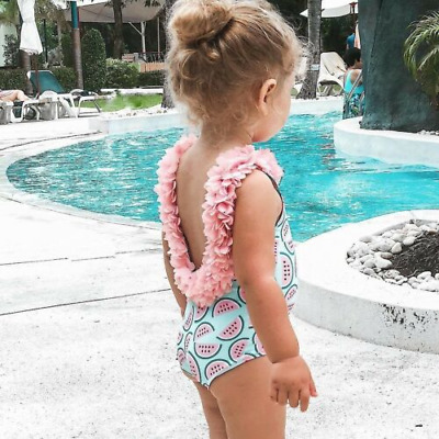 Kids Girls One Piece Swimwear Floral Watermelon Print Summer Beachwear Swimsuit