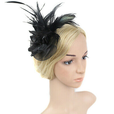 Women Flower Fascinator Vintage Wedding Hair Band Mesh Knot Feather Ribbon Party