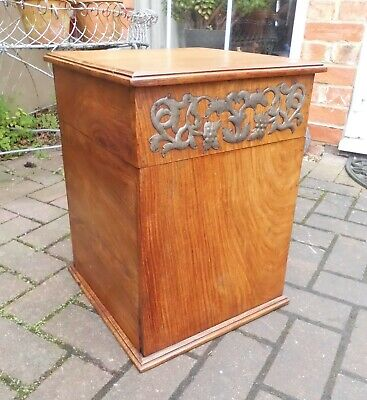 Arts & Crafts Style Storage Box~Seat~Stool~Lamp Or Bedside Chest~Pewter Frieze