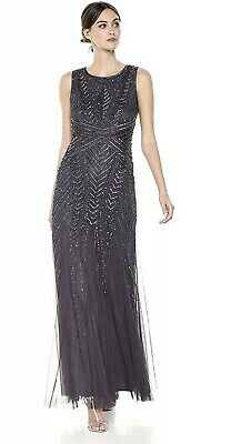 #F53 NEW Adrianna Papell Beaded Sleeveless Gown in Gunmetal SZ 6P 16