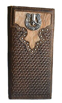MEN WOVEN BULL RIDER CONCHO RODEO BIFOLD SMALL LEATHER WALLET COWBOY