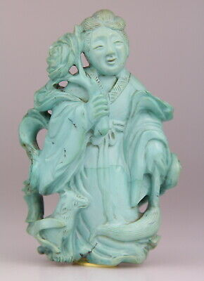 Antique Chinese Carved Turquoise Lady Figure 19th C. Qing