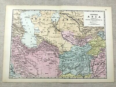 1891 Antique Map of Persia Central Asia Balochistan Old 19th Century Original