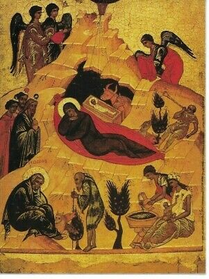 Holy Card of a Byzantine Icon of the Holy Nativity of Our Lord Jesus Christ