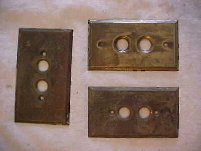 3 SMALL Antique Vintage MILLED SOLID Brass Single Push Button Switch Gang Plates