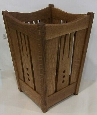 Arts and Crafts, Mission Quartersawn Oak Wastebasket