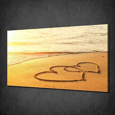 Hearts On Sand Canvas Print Picture Wall Art Free Fast Postage Variety Of Sizes