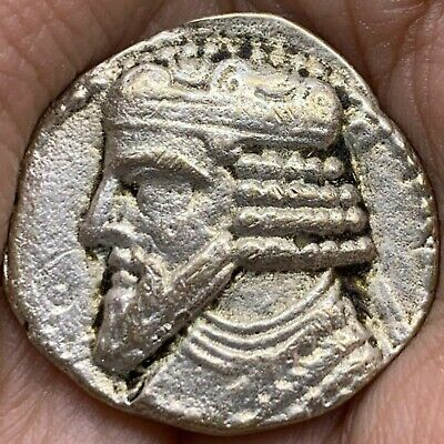 Unresearched Ancient Parthian Silver Drachm Lovely Coin