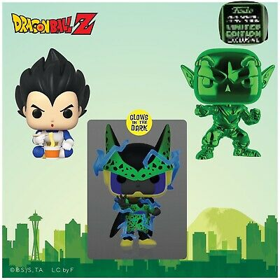 Funko Pop! Vegeta Piccolo Perfect Cell ECCC Exclusives DBZ Preorder + Protectors