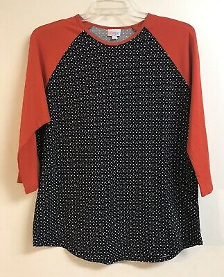 Woman's LuLaRoe top size 2XL color Black w/white pock-a-dots and red longsleeves
