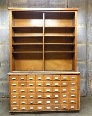 """8'4"""" Antique Apothecary Pharmacy Cabinet, Vintage Store Display Cabinet Back Bar"""