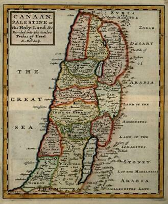 Holy Land Palestine Israel Twelve Tribes 1713 Moll miniature map hand color