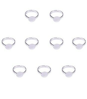 Adjustable Ring Base, Blank Ring, 14mm, Silver Colour 100 Pieces
