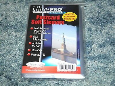 "100 Postcard Sleeves Standards ( 5 3/4"" x 3 11/16"" ) Plastic Protect Card Holder"