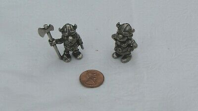 Tinn-Per Norway Pewter Viking Miniature Male & Female Figures Lot of 2