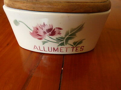 OLD french ceramic MATCH BOX : ALLUMETTES w/ carnations stamped