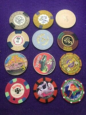 12 Asst Chips Lvs & Parts Of Nevada All In Good Shape Vg-Su