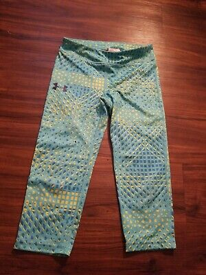 Under Armour Compression Capris Girls Youth Medium Green Excellent Condition