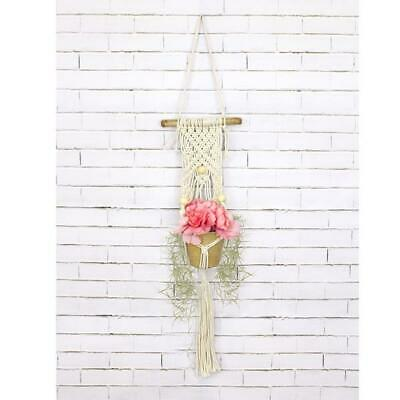 Birch Macrame Plant Pot Hanging Kit - 3 Beads -  Diy Decorative Knotting Kit