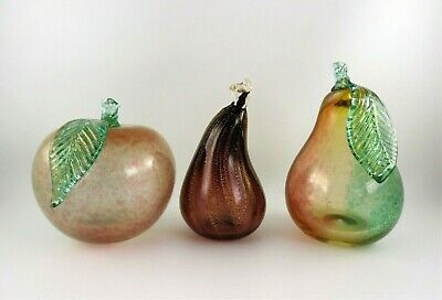 Murano Italian Art Glass Fruit, Green, Red, Purple, Gold Speckles, Mid Century