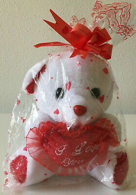 """Valentines  Day Teddy Bear I Love You Red Heart Plush NEW 6"""""""