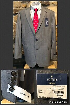 NWT!! Stafford Executive Suit Jacket 52 Long Grey Classic Fit 100% Wool