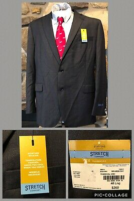 NWT!!!! STAFFORD Stretch Comfort Classic-Fit Charcoal Grey Suit Jacket 48 L Wool