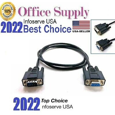 New 5ft RS232 Serial Cable Extension Male to Female DB9 9 Pin Straight Through