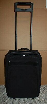 """HARTMANN Black Nylon & Leather Expandable Upright Rolling Carry On 22""""x14""""x9"""""""