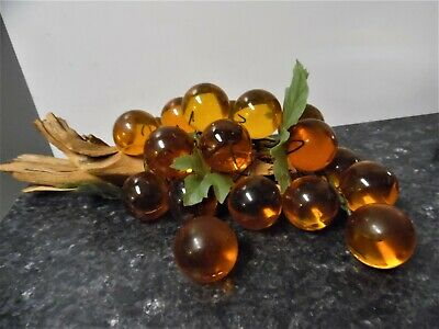 Vintage Mid Century Acrylic/Lucite Amber Grapes Large Cluster Driftwood