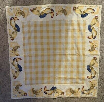 Van Cleef Tablecloth Rooster Chickens & Chicks Yellow & White checkered Vintage