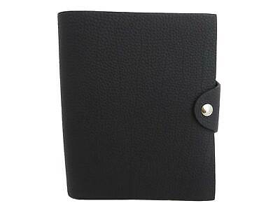 Auth HERMES 2018 Ulysse Agenda/Note Cover Black/Silvertone Leather *MINT* e44216
