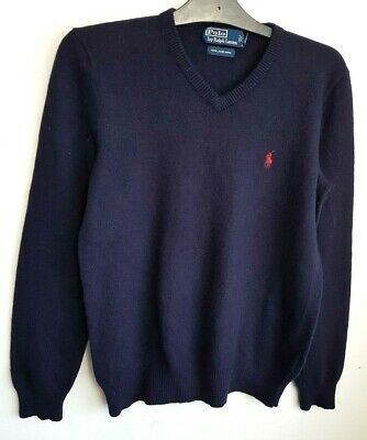 Polo  By Ralph Lauren Mens Jumper Sweater S Navy Blue Red 100% Lambswool