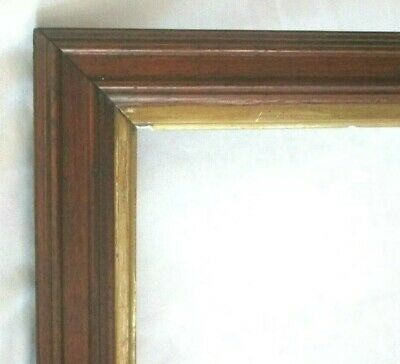 "Antique Fits 20"" X 15"" Arts & Crafts Mission Style Gold Gilt Oak Wood Frame"