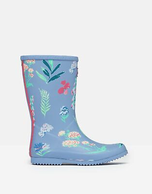 Joules Girls Roll Up Wellies - BLUE BOTANICAL