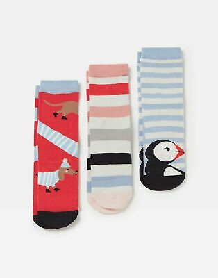 Joules Girls Brilliant Bamboo 3 Pack Socks - MULTI PUFFIN DOG