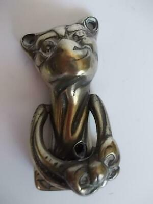 167 / Early 20Th Century English Cheshire Cat Brass Door Knocker