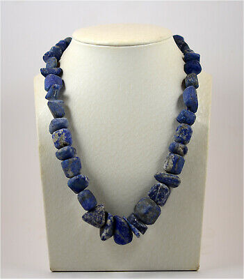 A heavy necklace of ancient Roman lapis lazuli beads