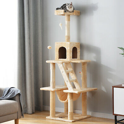 Cat Tree Tower Kitten Scratching Post Activity Center Bed House Furniture 146CM