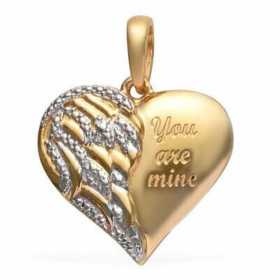 925 Sterling Silver 14K Yellow Gold Plated Diamond Valentine Heart Pendant Gift