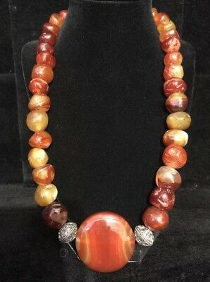 Very Large Chunky Vintage Antique Hand Carved Carnelian Bead Necklace Silver
