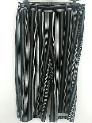 George Black White Striped Cropped Elasticated Waist Trousers Size 16