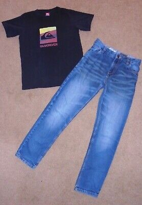 Next Boys Stylish Jeans & Quiksilver Top Age 11-12 Years