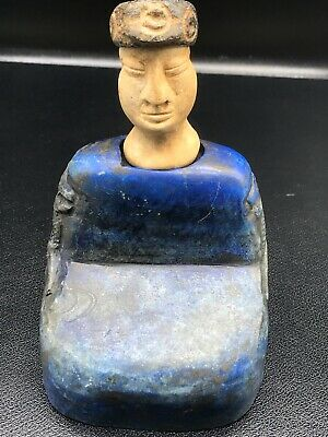 Ancient Bactrian King Lapis lazuli Stone with 2 horse Head Seated Statue