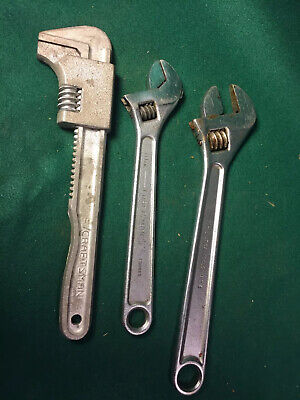 "Lot Of 3 Adjustable Wrenches 10"" 12"" Craftsman Utica"
