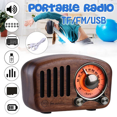 LED Portable Vintage BT Wireless Speaker Radio USB/FM/AUX/MP3 with 64GB TF Card