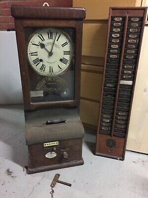 Antique clocking in machine, key wound, wall or floor standing,